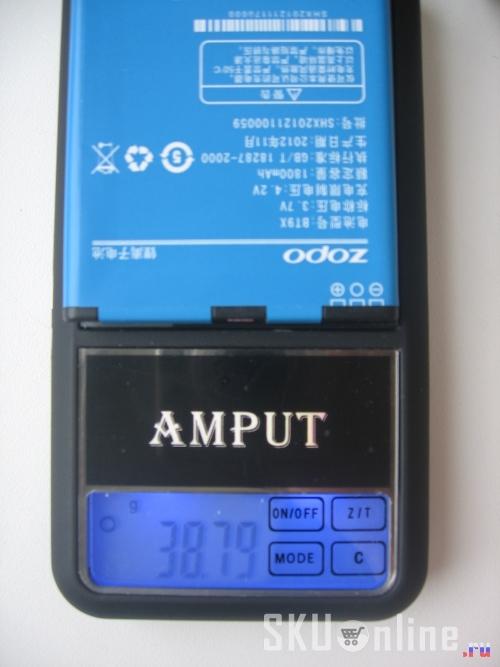 Батарея ZOPO ZP300+ (1800mA) весит 38.77 грамм.