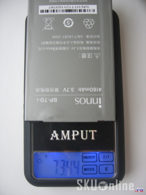 Батарея Innos D9 (4160mA) весит 73.44 грамм.