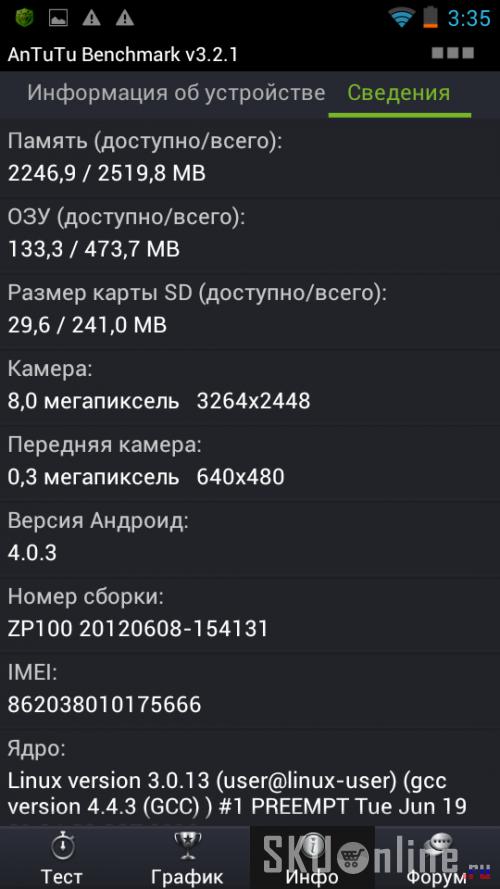 Antutu Benchmark v3.2.1 Zopo ZP100