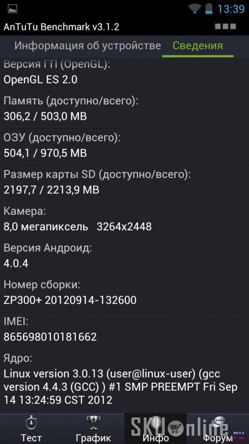 Antutu Benchmark v3.2.1 Zopo ZP300+