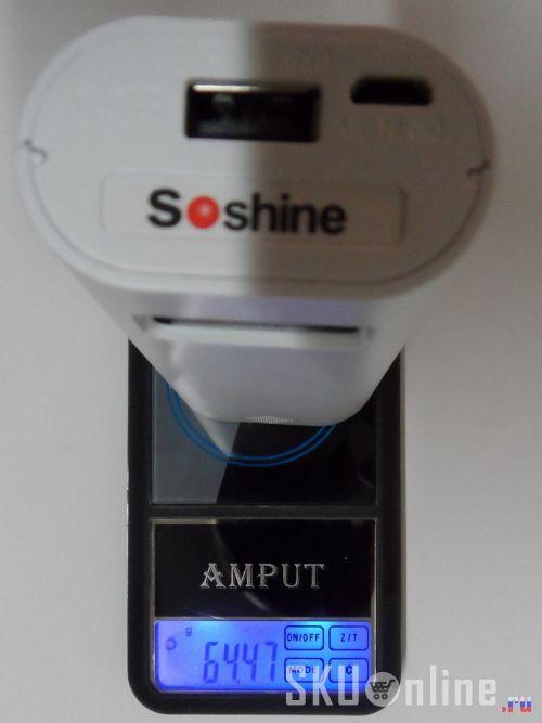 Вес повербанка Soshine E4S без аккумуляторов 18650 - всего 65 грамм