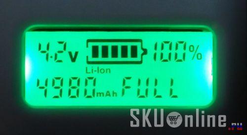По окончании зарядки появляется надпись FULL вместо времени заряда