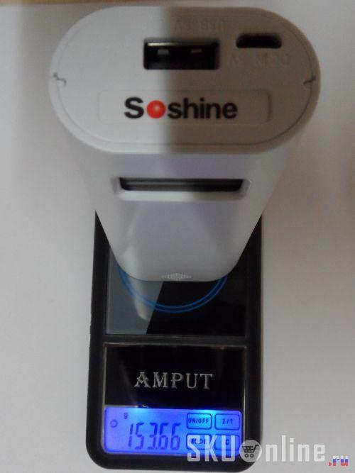 Вес повербанка Soshine E4S с двумя аккумуляторами 18650 - 154 грамма.
