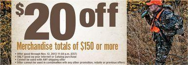 $20 OFF from $150