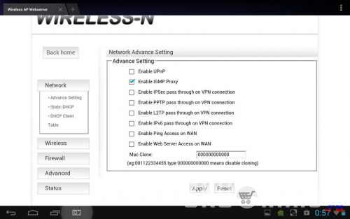 Network - Advance Setting