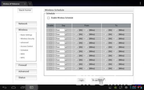 Wireless - Schedule