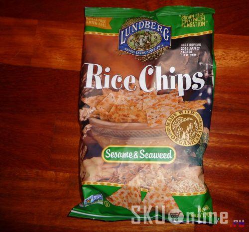 Упаковка с чипсами Lundberg, Rice Chips, Sesame & Seaweed