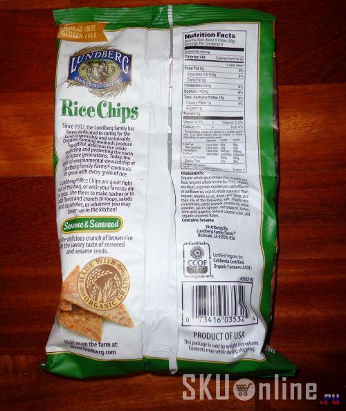 Чипсы Lundberg, Rice Chips, Sesame & Seaweed. Обратная сторона упаковки