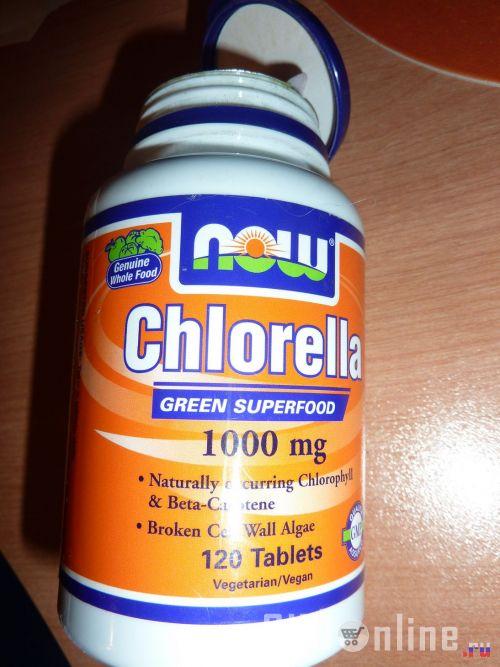 Лицевая сторона баночки с хлореллой от Now Foods