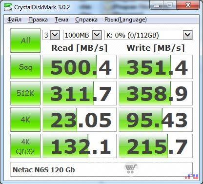 SSD Netac N6S. Тест сразу после включения