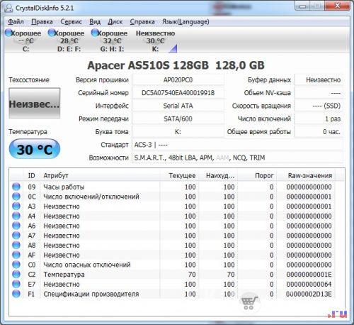 SSD диск Apacer AS510S 128 Гб. CrystalDiskInfo -1