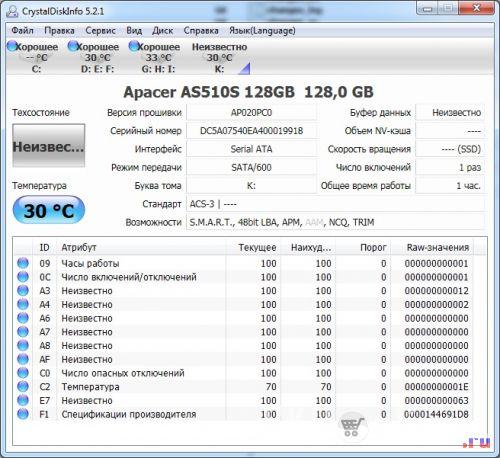 SSD диск Apacer AS510S 128 Гб. CrystalDiskInfo - 2