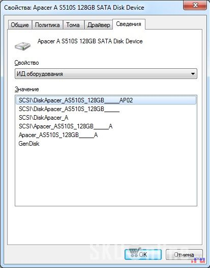 SSD диск Apacer AS510S 128 Гб. Идентификация