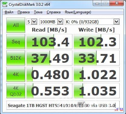 Seagate 1 Tb HGST HTS541010A9E680 CrystalDiskMark тест - 1