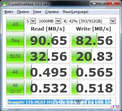 Seagate 1 Tb HGST HTS541010A9E680 CrystalDiskMark тест - 2