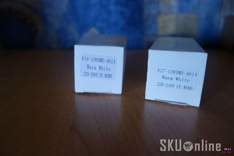 Упаковки светодиодных ламп E14 и E27 138SMD 4014