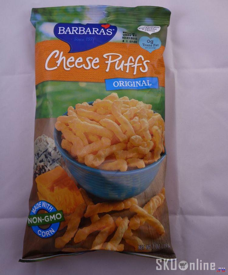 Лицевая сторона упаковки Barbaras bakery Cheese Puffs