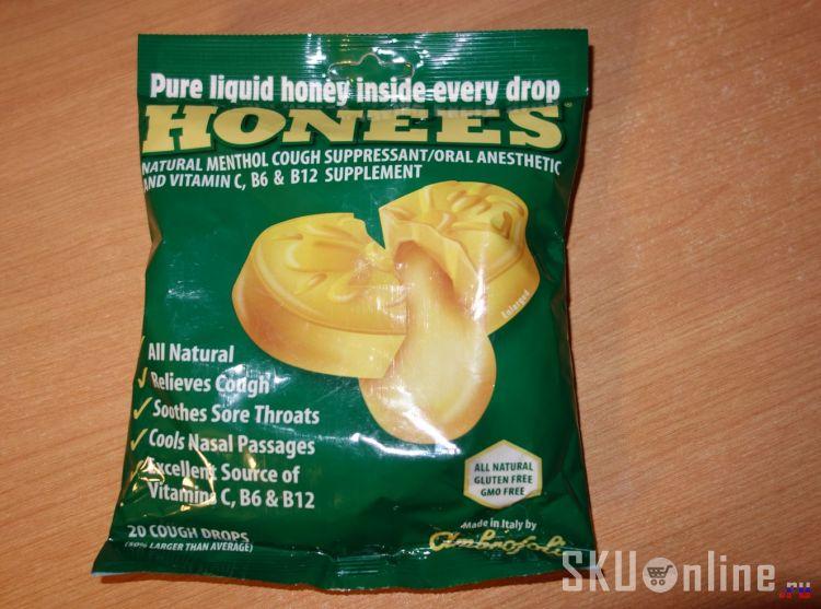 Лицевая сторона упаковки Honees, Honey Menthol Cough Suppressant