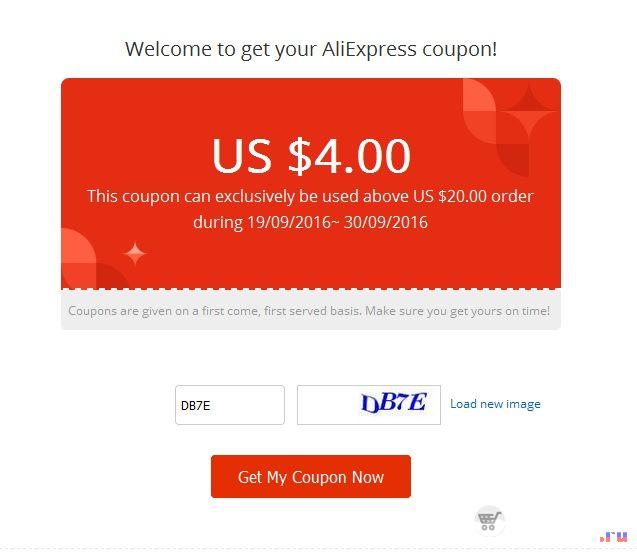 Купон на скидку в 4 доллара от 20 на Aliexpress