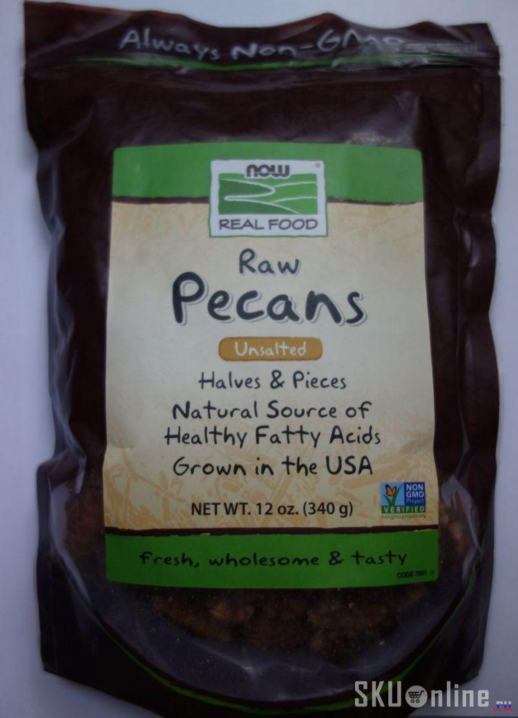 Лицевая сторона пакета орехов пекан от Now Foods